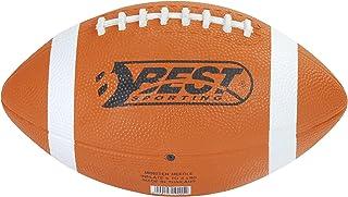 Football américain Brun foncé avec rayures blanches et aufgeklebter de coutures, avec Best Jaune en caoutchouc blanc et noir logo Best Sporting