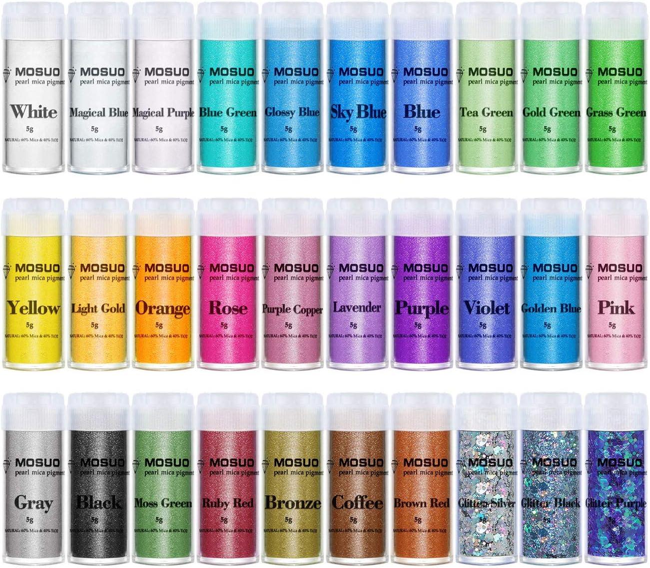 MOSUO Pigmentos en Polvo, 5g*30 Colores Natural Mica Tintes para teñir Resina Epoxi, Jabones, Slime, Cera, Pintura, Vela, Uñas, Cosmético y Arte de ...