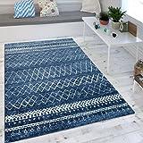 Wohnzimmer Teppich Indigo Blau Trend Modernes Skandinavisches Muster ,  Grösse:120x170 Cm