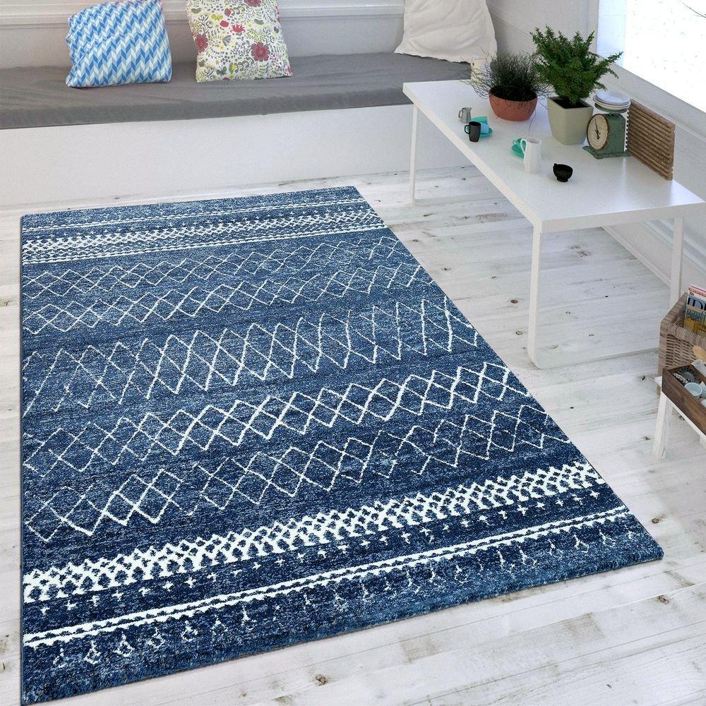 Paco Home Wohnzimmer Teppich Indigo Blau Trend Modernes Skandinavisches Muster, Grösse 160x230 cm