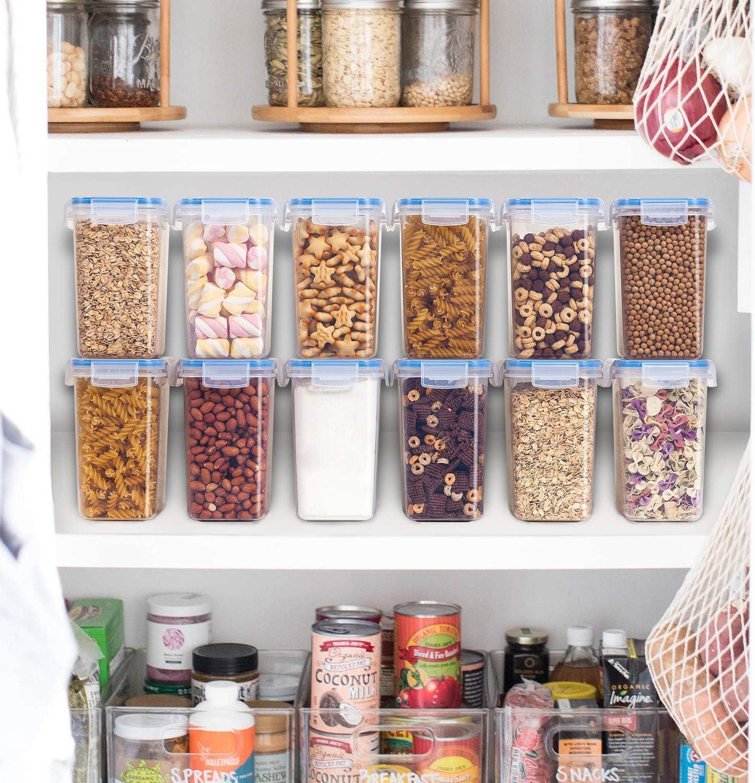 para harina,caf/é Azul Vtopmart 1.6L Recipientes para Cereales Almacenamiento de Alimentos 24 Etiquetas Jarras de Almacenamiento de Pl/ástico con Tapa Herm/ética Sin BPA,Juego de 6
