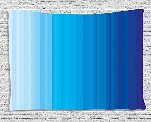Ambesonne Blue Tapestry, Abstract Vertical Striped Pattern Dark Blue Tones Serene Illustration Print, Wide Wall Hanging for Bedroom Living Room Dorm, 80 X 60 , Pale Blue