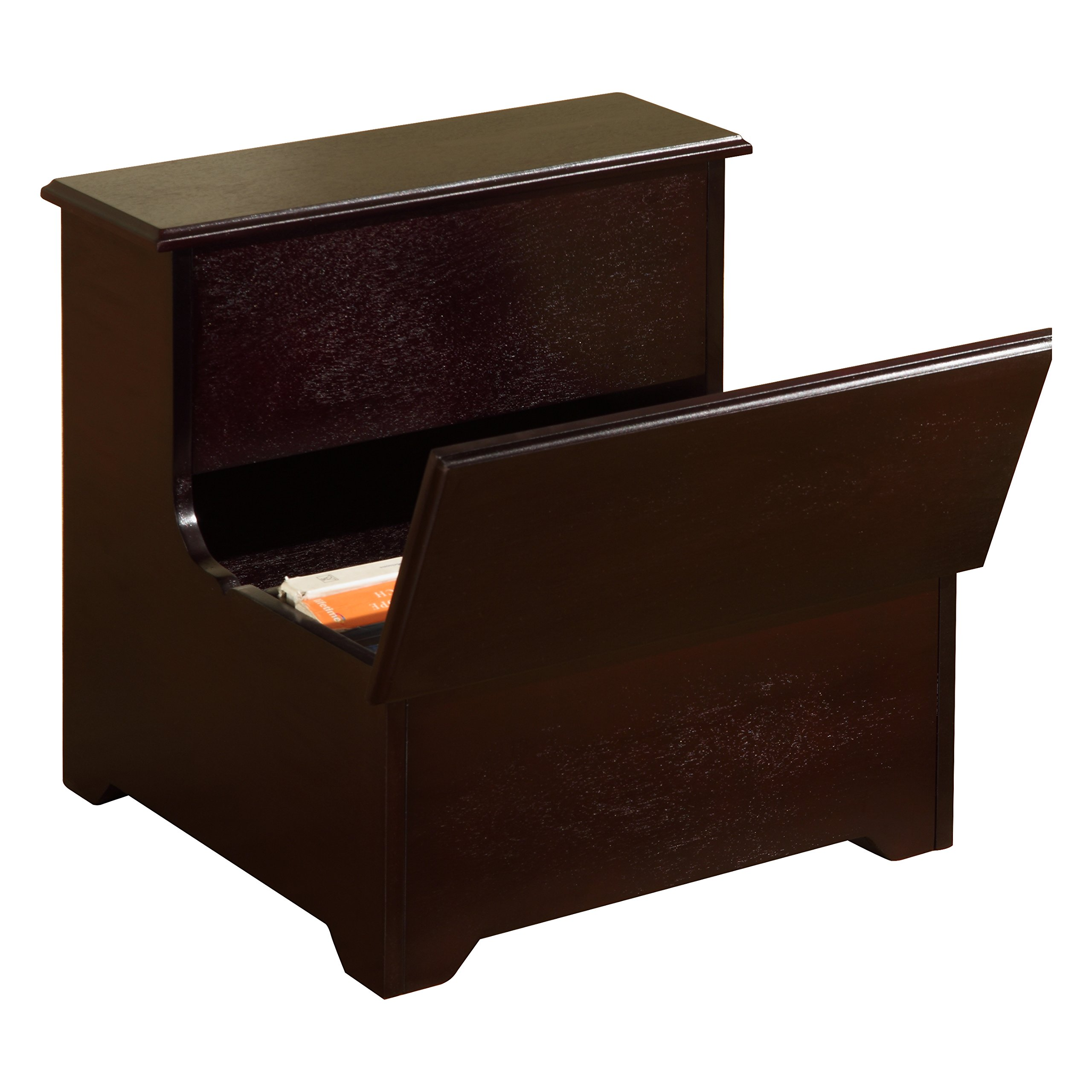 Pilaster Designs - Cherry Finish Wood Bedroom Bed Storage Step Stool by Pilaster Designs