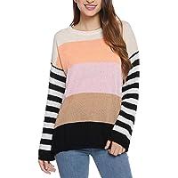 Hawiton Jersey Punto Mujer Invierno Rayas Camisa Manga Larga Suéter Suelto Pullover Tops Elegantes Sudaderas Blusas…