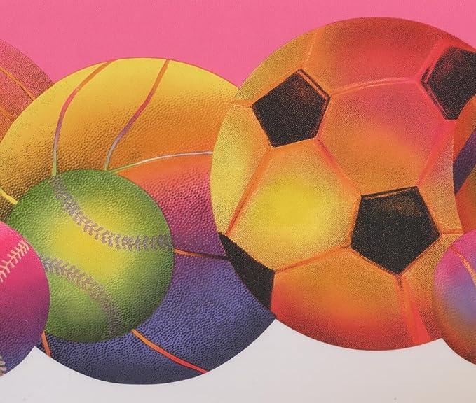 Colorful Football Baseball Soccer Ball Hot Pink Modern Wallpaper Border Sport Design Roll 15 X 8 5 Amazon Com