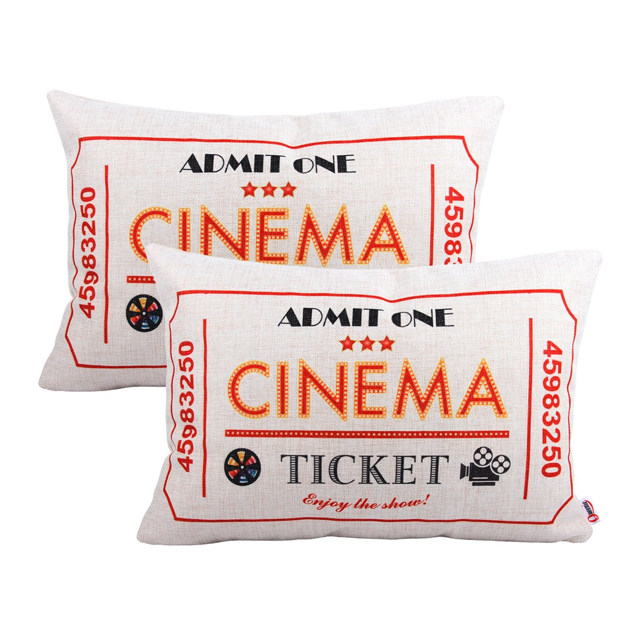Queenie® - 2 Pcs Movie & Music Theme Decorative Pillow Cases Throw Cushion Covers 35 cm x 50 cm 14 x 20 Inch (movie ticket red)