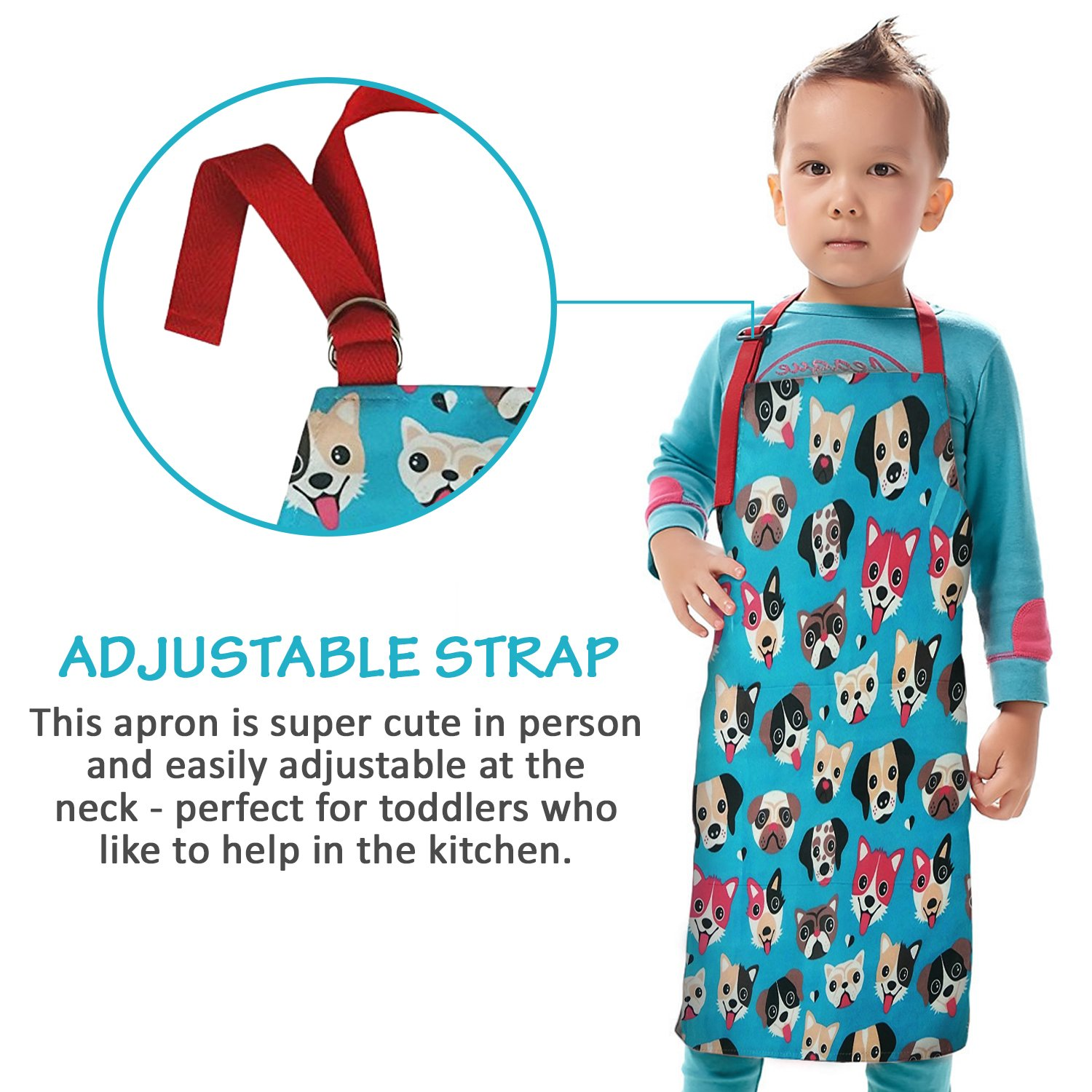 Amazon.com: Child Apron For Cooking and Painting - Unique Cute Dog ...