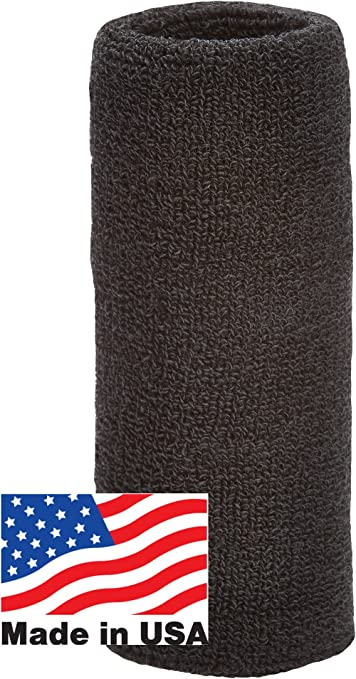 Sports Wrist Cotton Towel 6 Inch Long Thick Wristband Non Allergenic Black New
