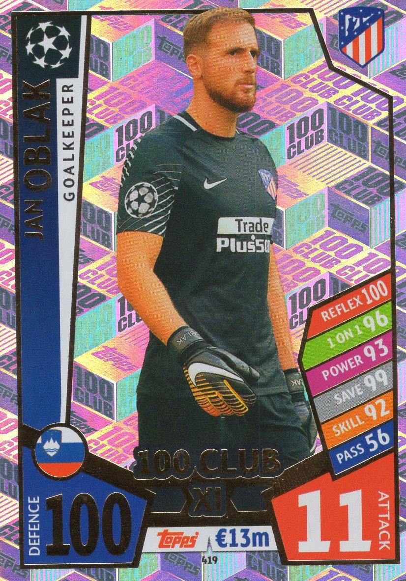 Atletico Madrid 17//18 Match Attax Champions League 17//18 Jan Oblak 100 Club Trading Card