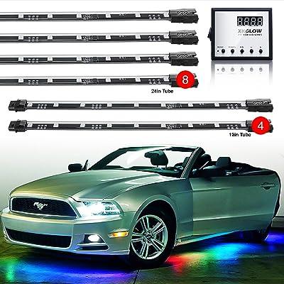 "2nd Gen 8pc 24"" Tubes + 4pc 12"" Tubes Undercar & Interior Advanced 3 Million Color UFO Style LED Car Truck ATV Underbody Glow Wireless 120 Preset Remote Control Light Options Accent Light Kit: Automotive"