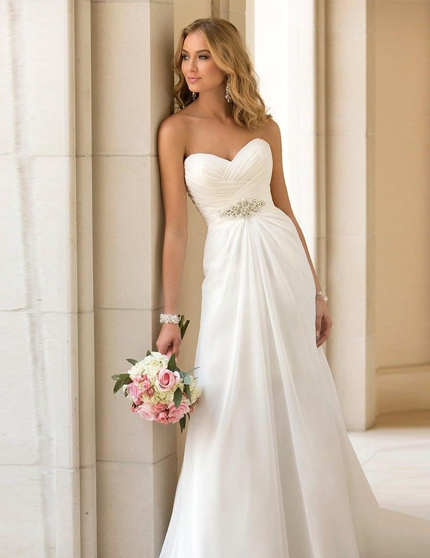 34 36 38 40 42 44 46 Braut Kleid Elegantes Brautkleid Traum Hochzeitskleid A-Linie Gr