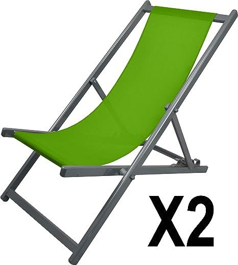 MATEXA – Lote de 2 – Chilena Confort Anti-UV de Aluminio, Silla Plegable de Exterior, Silla de terraza, Anis