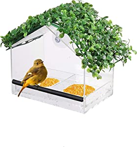 HOME RIGHT Window Bird House Feeder with Sliding Seed Holder and 2 Extra Strong Suction Cups, 7x7.9x5.1 inches Outdoor Birdfeeders for Wild Birds Birdhouse Shape