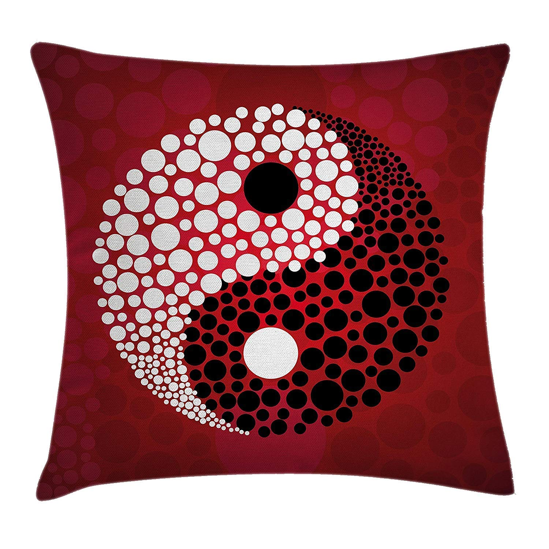 Osmykqe Funda de Almohada Ying Yang Decor Abstract Graphic Circle Patr/ón de Puntos en Blanco y Negro Cosmos y Energy Decor Art 18 X 18 Inc