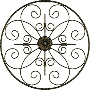 Lavish Home Medallion Metal Wall Art- 14 Inch Round Metal Home Décor, Hand Crafted with Distressed Finish- Mounting Screws Included
