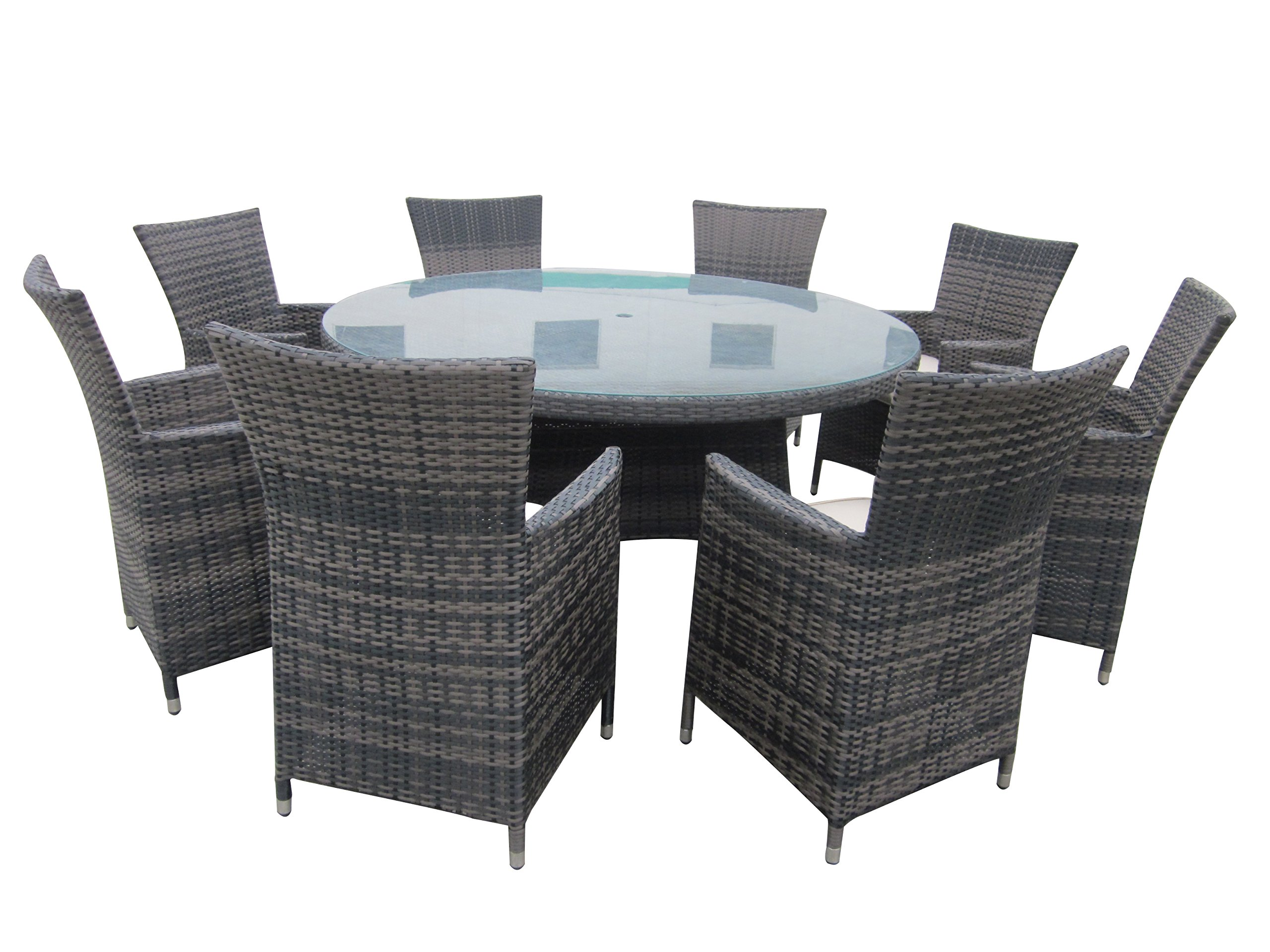 9 Piece Wicker Dining Sets, Patio Round Dining Set - Taupe - Aluminum frame: resist warping, twisting, and rust; plus they're lightweight and easily portable Polyethylene rattan: designed to look like beautiful hand woven wicker, these frame exteriors also resist UV and moisture damage Polyester cushions: 5cm thick, foam-filled for comfort, resistant to fade and moisture - patio-furniture, dining-sets-patio-funiture, patio - 81XPpQwTE6L -