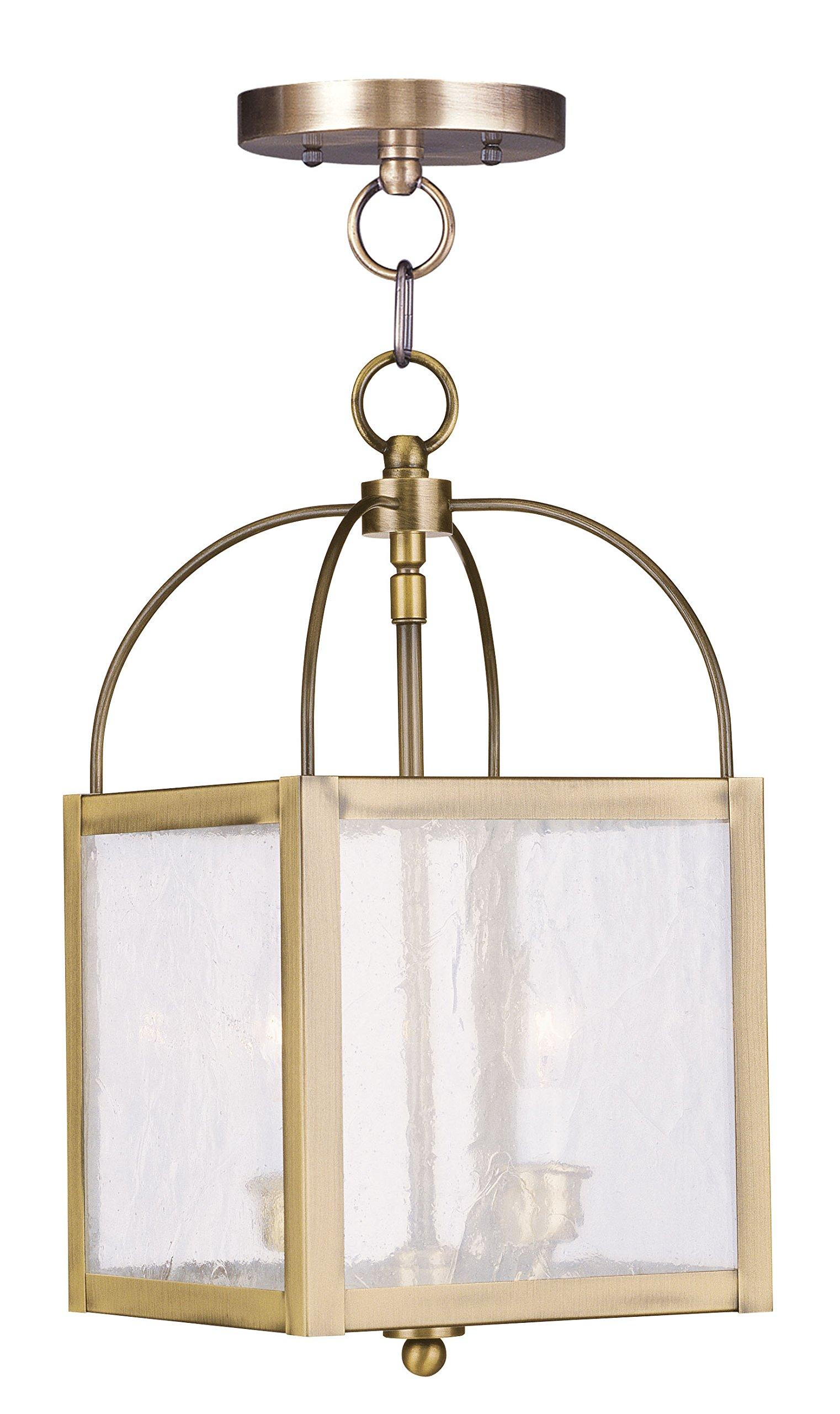 Livex Lighting 4045-01 Milford 2-Light Convertible Hanging Lantern/Ceiling Mount, Antique Brass
