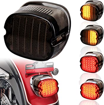 Street Bob Smoked Low Profile Brake Running Taillight fit Touring Sportster Dyna NTHREEAUTO for Harley Road King LED Tail Lights