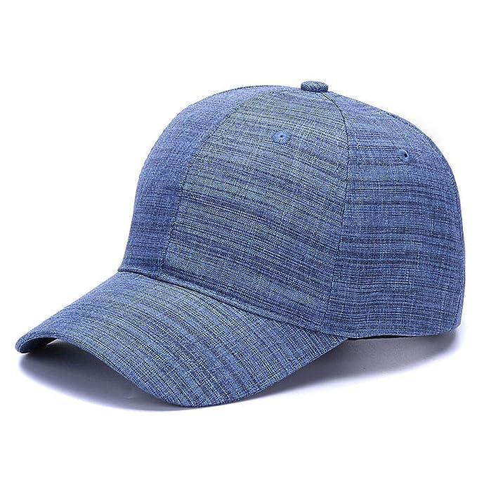 GordonKo Solid Sports Hats Caps Adjustable Gorras Casual Baseball Caps for Men Women Blue