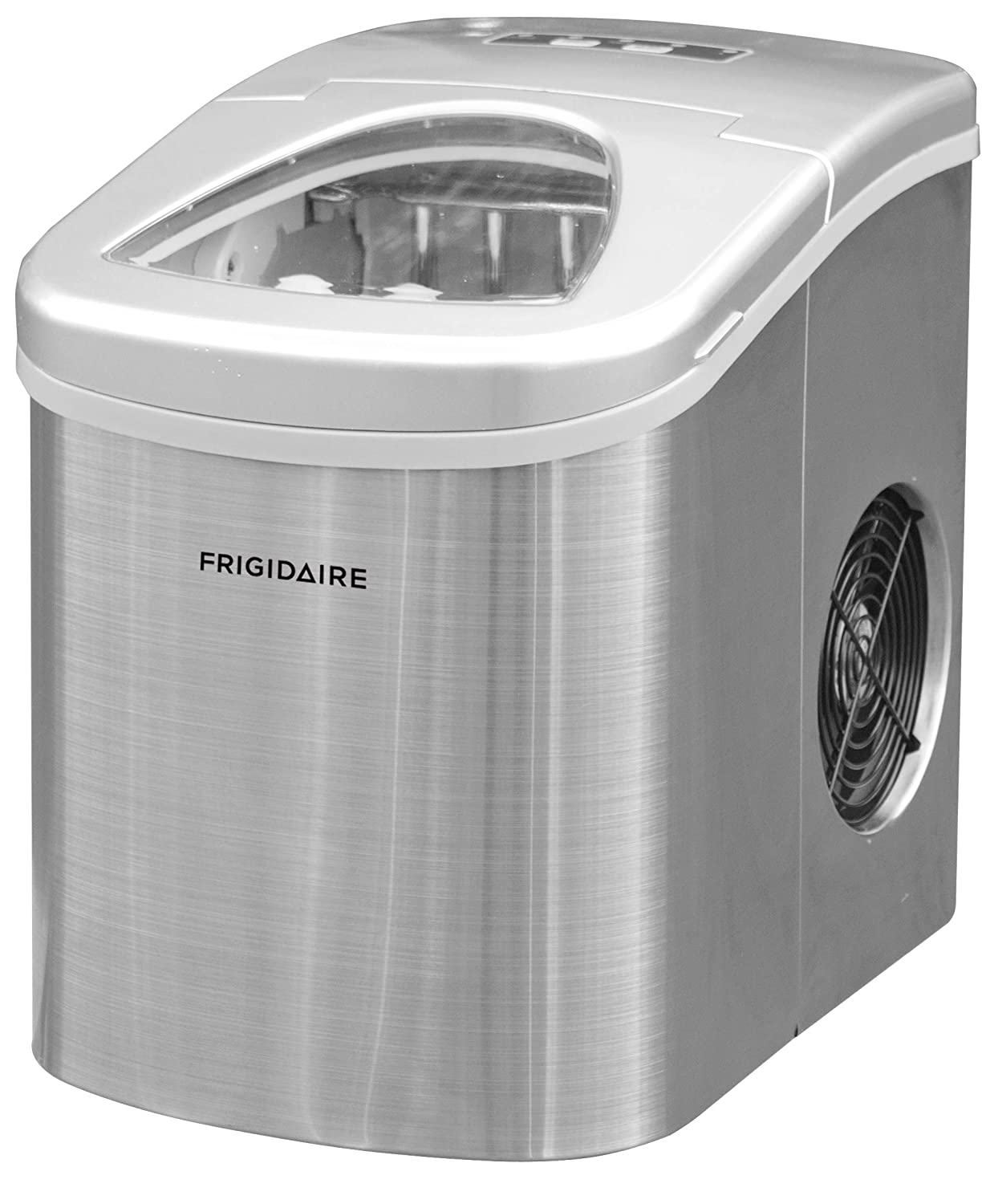 Frigidaire Counter Top Ice Maker, Produces 26 pounds Ice per Day, Stainless Steel with White See-through Lid