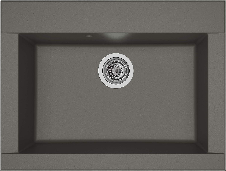 respekta OHIO86X50G - Fregadero de 60% compuesto de minerales y fibra de vidrio, 40% resina de color gris hormigón, 66 cm