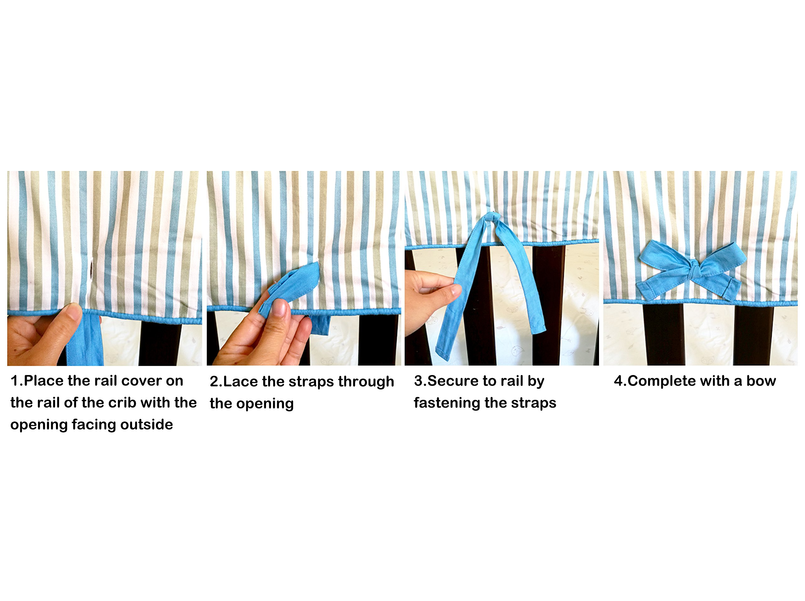 2 Piece 100% Cotton Side Crib Rail Guard Cover/Wrap 29.5'' x 17.5'' for Your Teething Baby,Padding,Cute, Reversible, Machine Washable, Fits Most Standard Narrow & Modern Wide Crib Rails by KAI&HIRO (Image #6)
