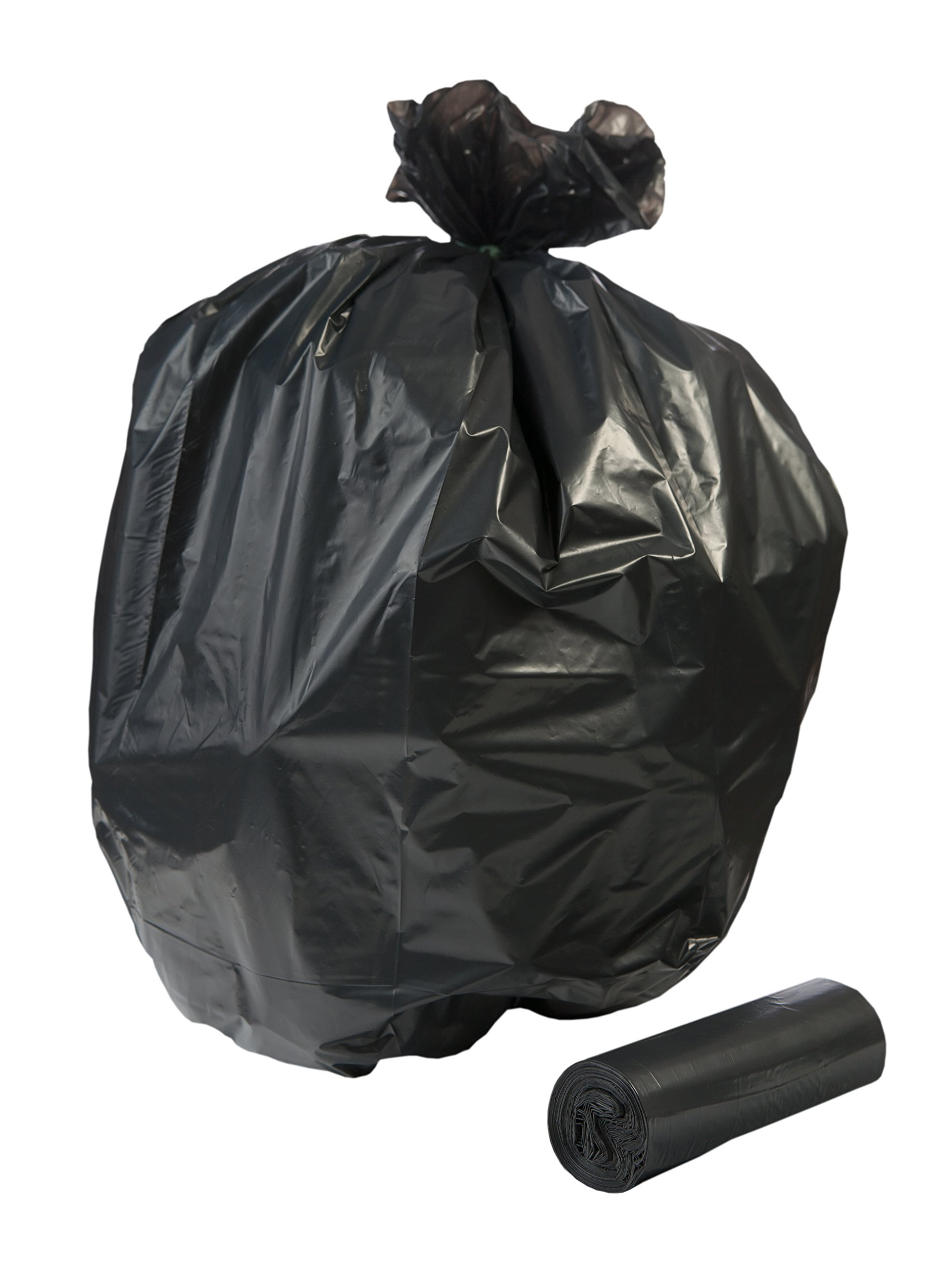TLD-71BL, 60 Gallon, EXTRA Heavy Duty Contractor Bags, 50 count With Ties, 3 Mil Thick Low Density, BLACK, 38x60 inches, MADE IN USA