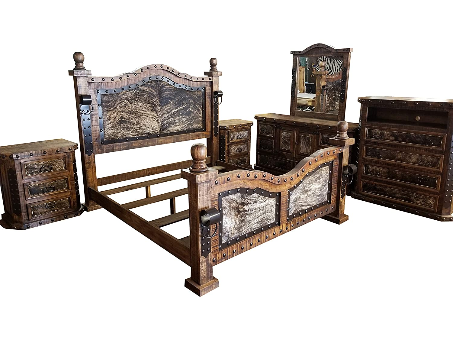amazon com hi end medieval style cowhide rustic bedroom set with rh amazon com rustic bedroom sets king rustic bedroom sets for sale
