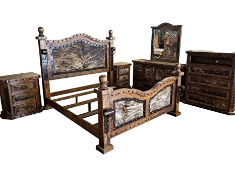Hi End Medieval Style Cowhide Rustic Bedroom Set