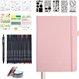 Dotted Journal Set, 224 Numbered Pages Faux Leather A5 Grid Hard Cover Pink Notebook Planner with Index Inner Pocket, Abundan
