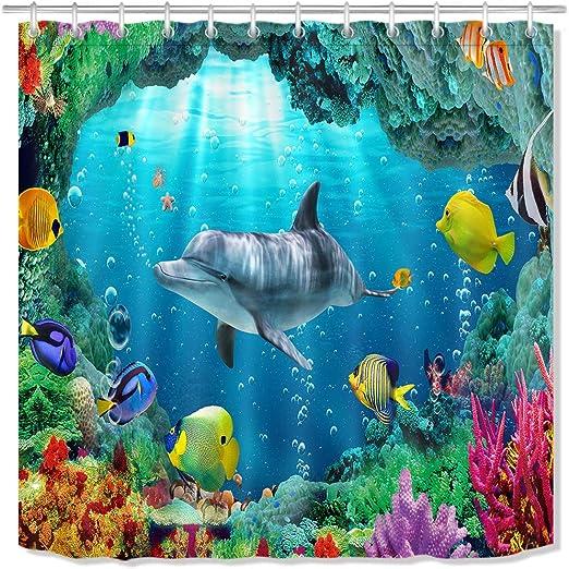 Marine Life Fishes Shower Curtain Liner Bathroom Mat Set Polyester Fabric Hooks