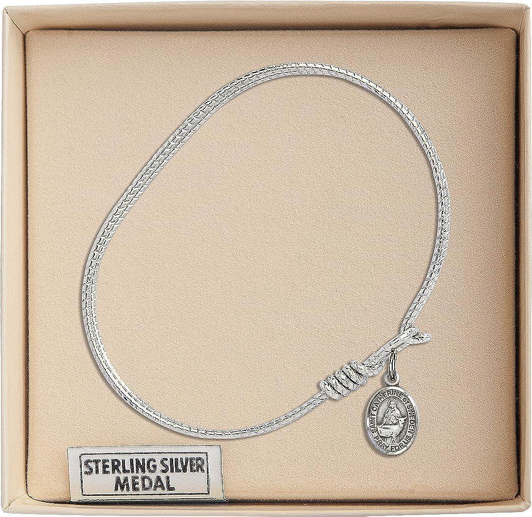 Catherine Of Sweden Charm On A 6 1//4 Inch Oval Eye Hook Bangle Bracelet St