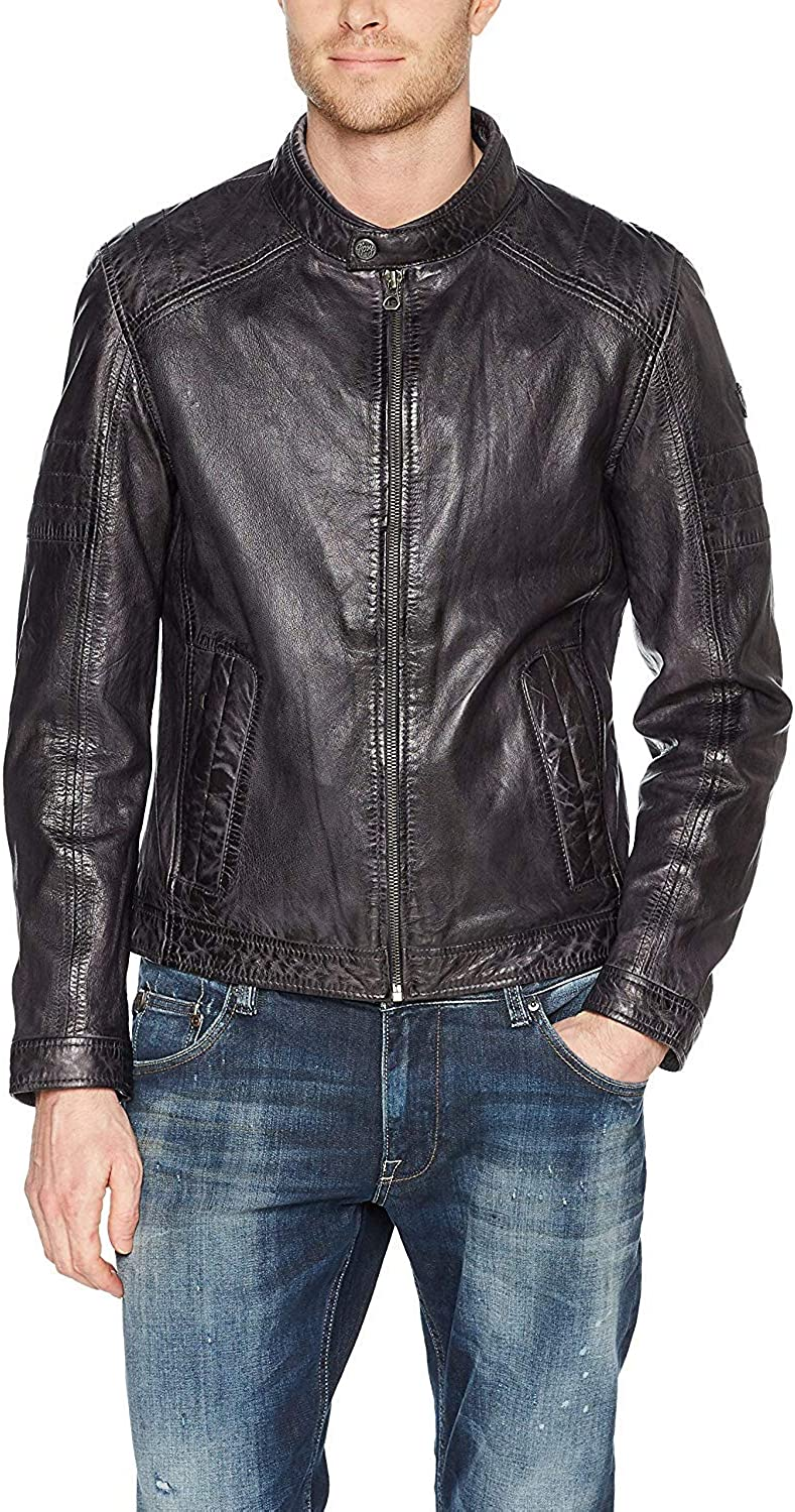 Woojo Mens Real Genuine Lambskin Leather Black Jacket WJ121