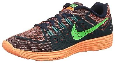 best website 72ef0 869dc Nike Men s Lunartempo Dark Obsidian, Total Orange, Radiant Emerald and  Voltage Green Running Shoes
