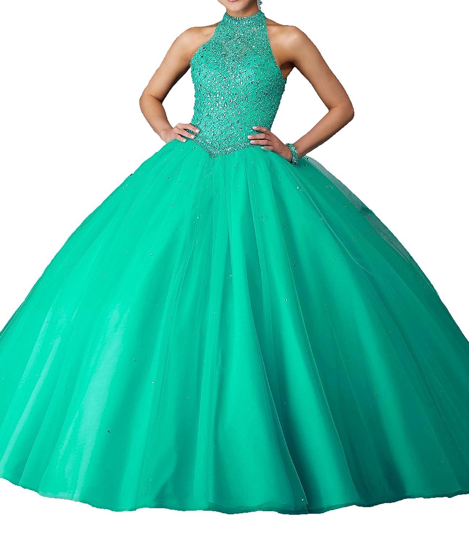 Green MFandy 2019 Women High Neck Sequin Ball Gowns Girls Quinceanera Dresses