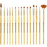 Beaute Galleria 15pcs Nail Brush Set for Detailing, Striping, Blending, One-Stoke Nail Art with Gel Brushes, Painting Brushes, 3D Brush, Dotting Tool, Fan Brush and Liner