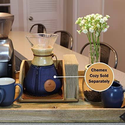 Blue Horse Caddy for Chemex Coffee Maker with Matching Brown Mat