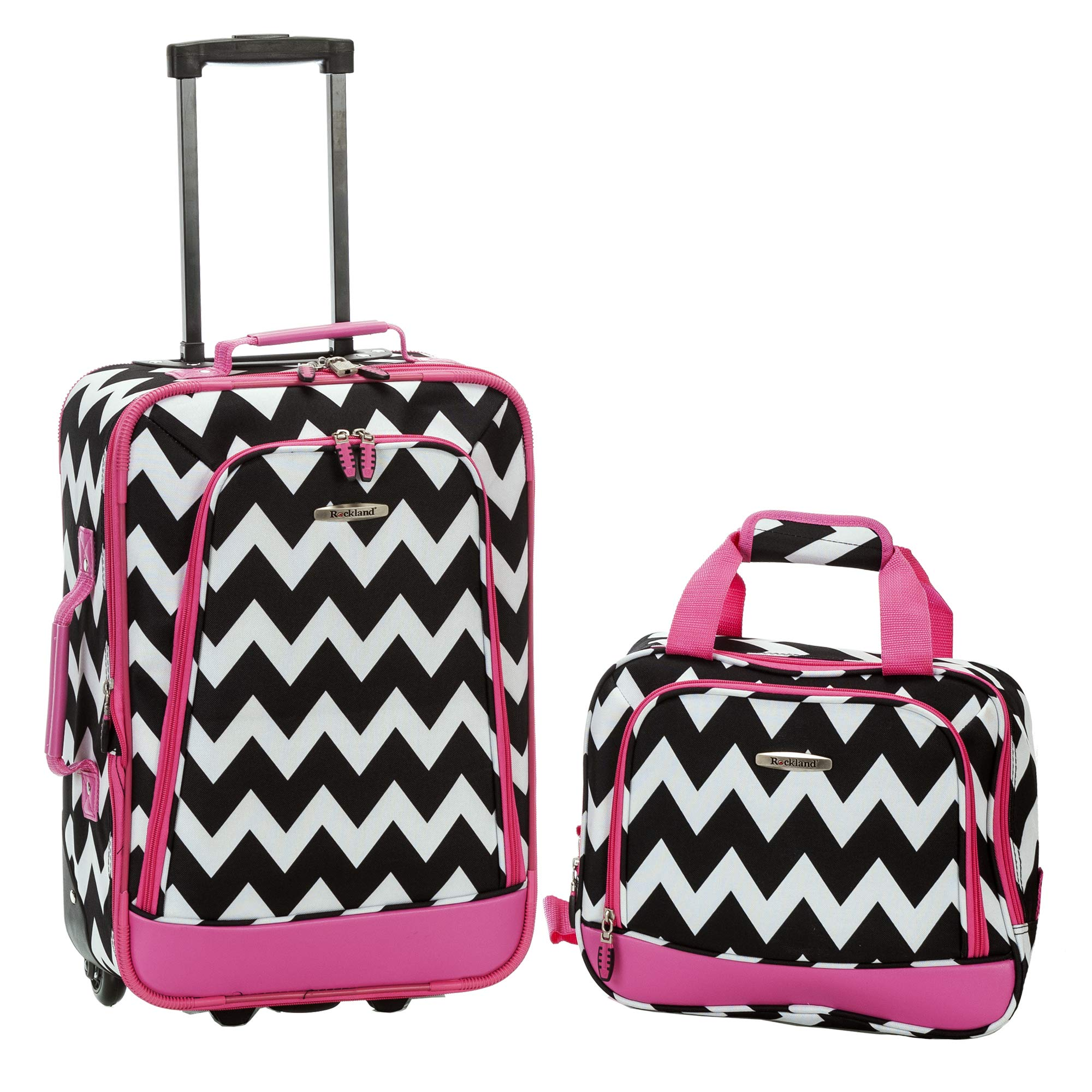 Rockland 2 Piece Expandable Luggage Set, Pink Chevron by Rockland