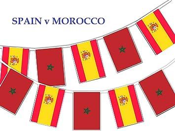 Party Decor 2018 - Banderines de fútbol, diseño del grupo B 6º partido España v Marruecos - 16 banderines para decorar fiestas de fútbol con estilo: Amazon.es: Juguetes y juegos