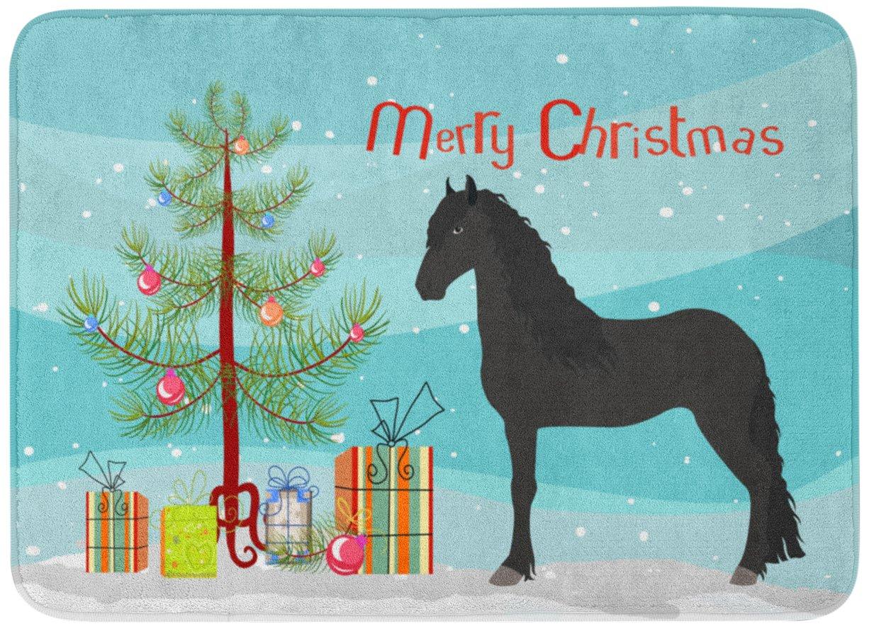 Carolines TreasuresFriesian Horse Christmas Floor Mat 19 x 27 Multicolor