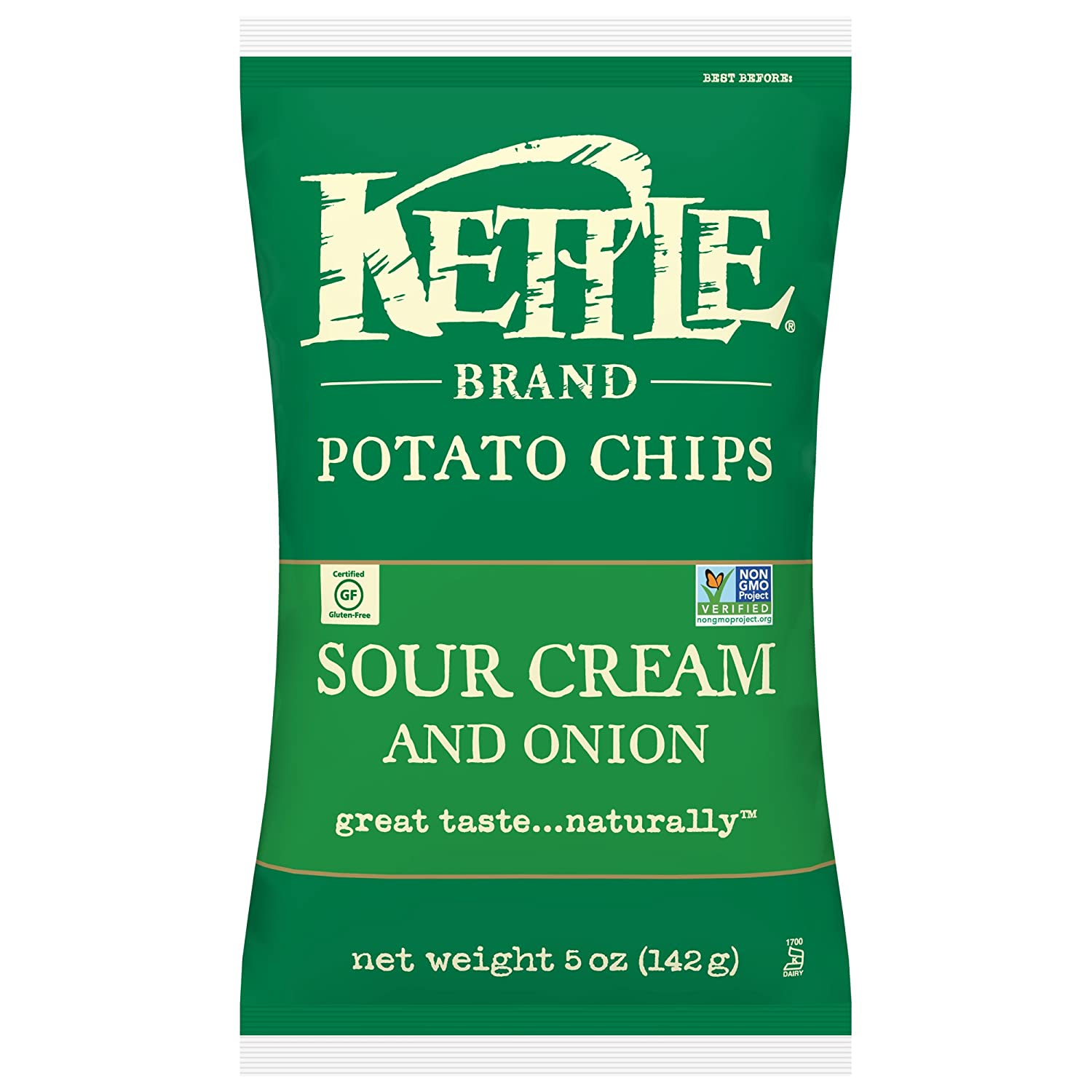 Kettle Brand Potato Chips, Sour Cream and Onion, 5 Ounce (Pack of 15)