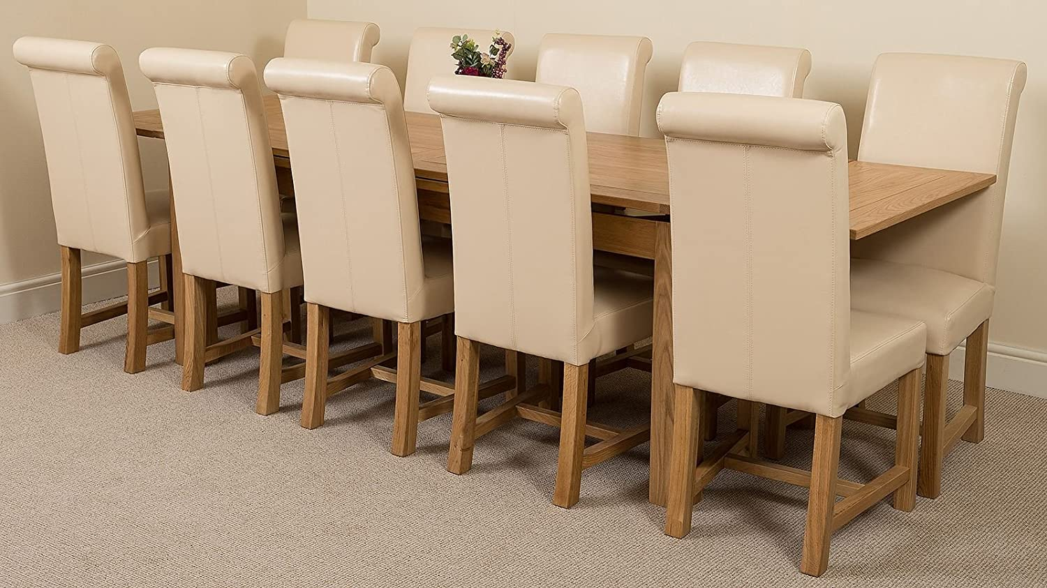 Modern furniture direct richmond large extending solid oak dining table 10 ivory leather chairs 100 solid oak 200cm 280cm extending fast