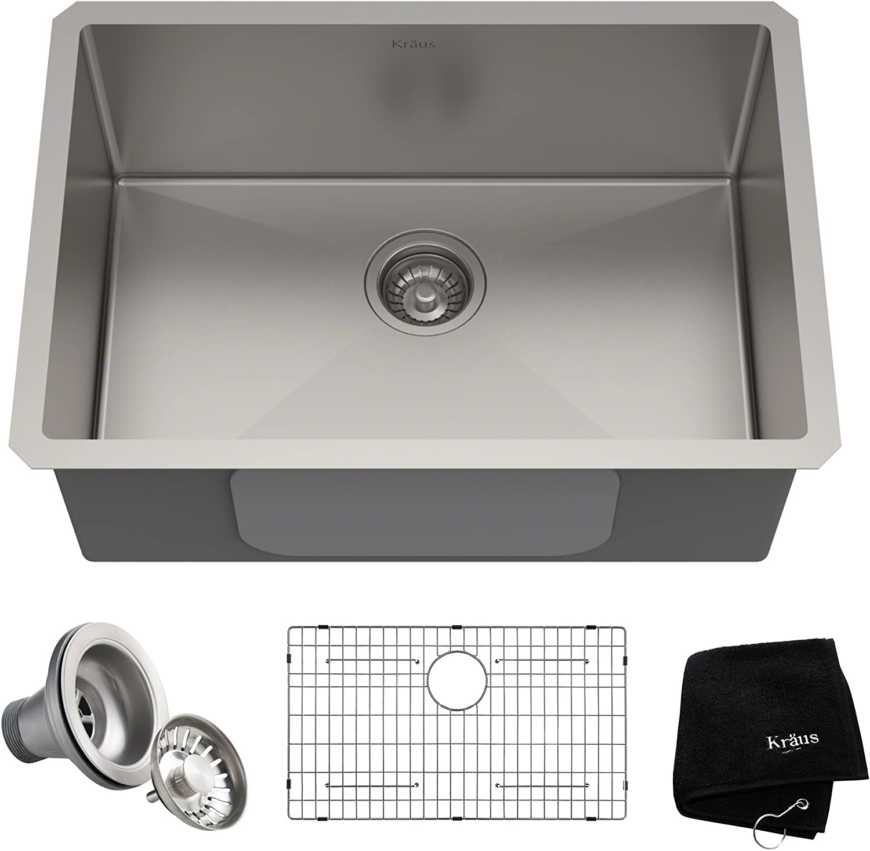 Kraus Khu100 26 Standart Pro 16 Gauge Undermount Single Bowl Kitchen Sink 26 Inch Stainless Steel