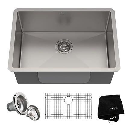 Kraus KHU100 26 Kitchen Sink, 26u201d, Stainless Steel