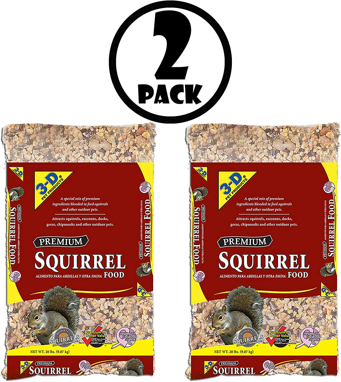 3-D Pet Products Premium Dry Squirrel Food, 20 lbs, 2 Pack