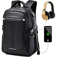 Bbjuner Anti Theft Waterproof Backpack with USB Charging Port & Headphone Interface (Black)