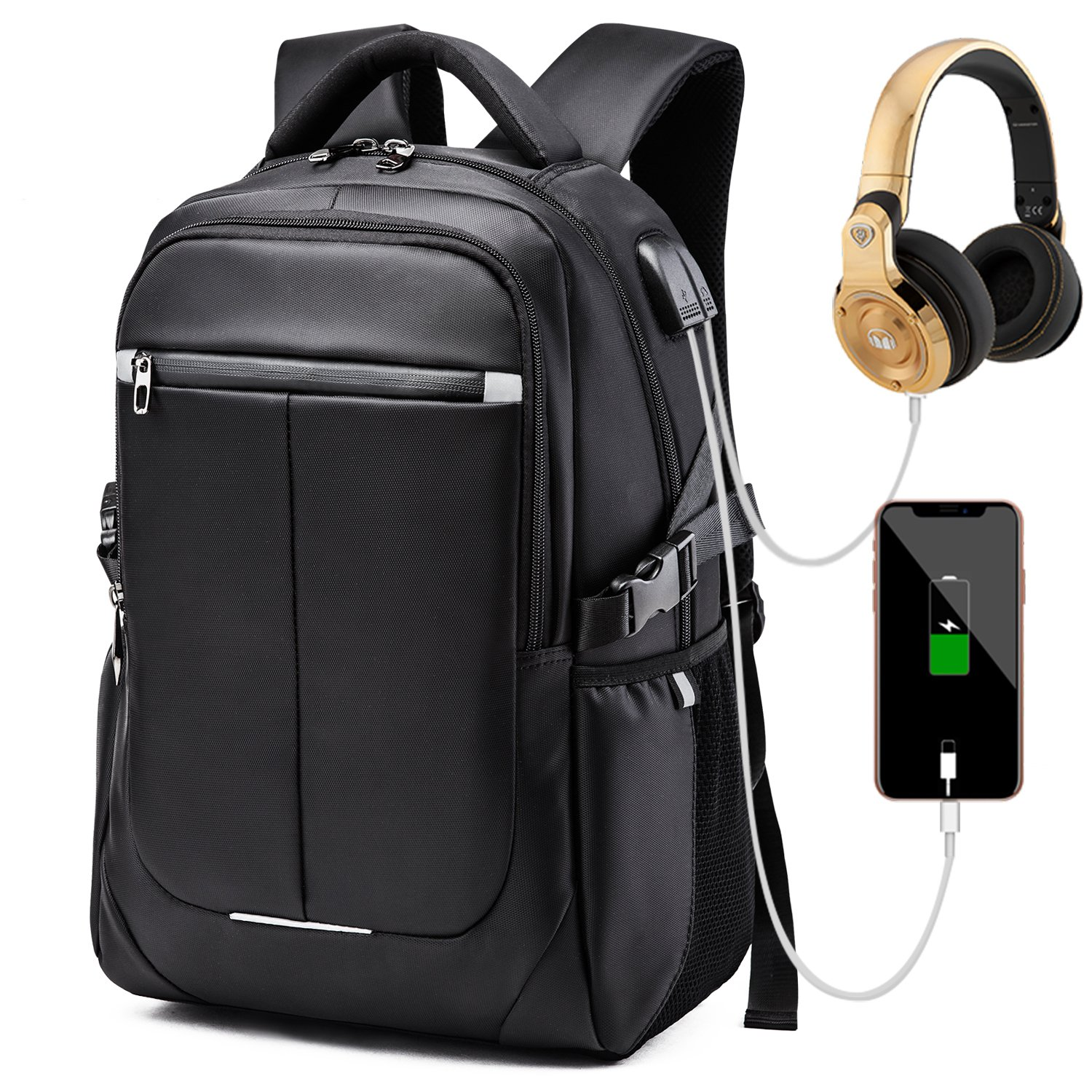 Laptop Backpack, Business Travel Computer Bag Anti Theft Waterproof Backpack with USB Charging Port & Headphone Interface for College School Women and Men Fits for 15.6 Inch Laptop-Black.
