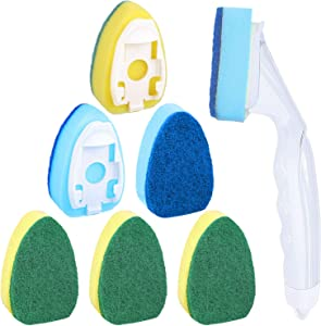 7 Pieces Dish Wand Sponge Set, 1 Piece Soap Control Dish Wand Refillable Dish Washing Handle 6 Pieces Replacement Head Sponge Non-Scratch Cleaning Sponge for Kitchen Sink Dish Cleaning