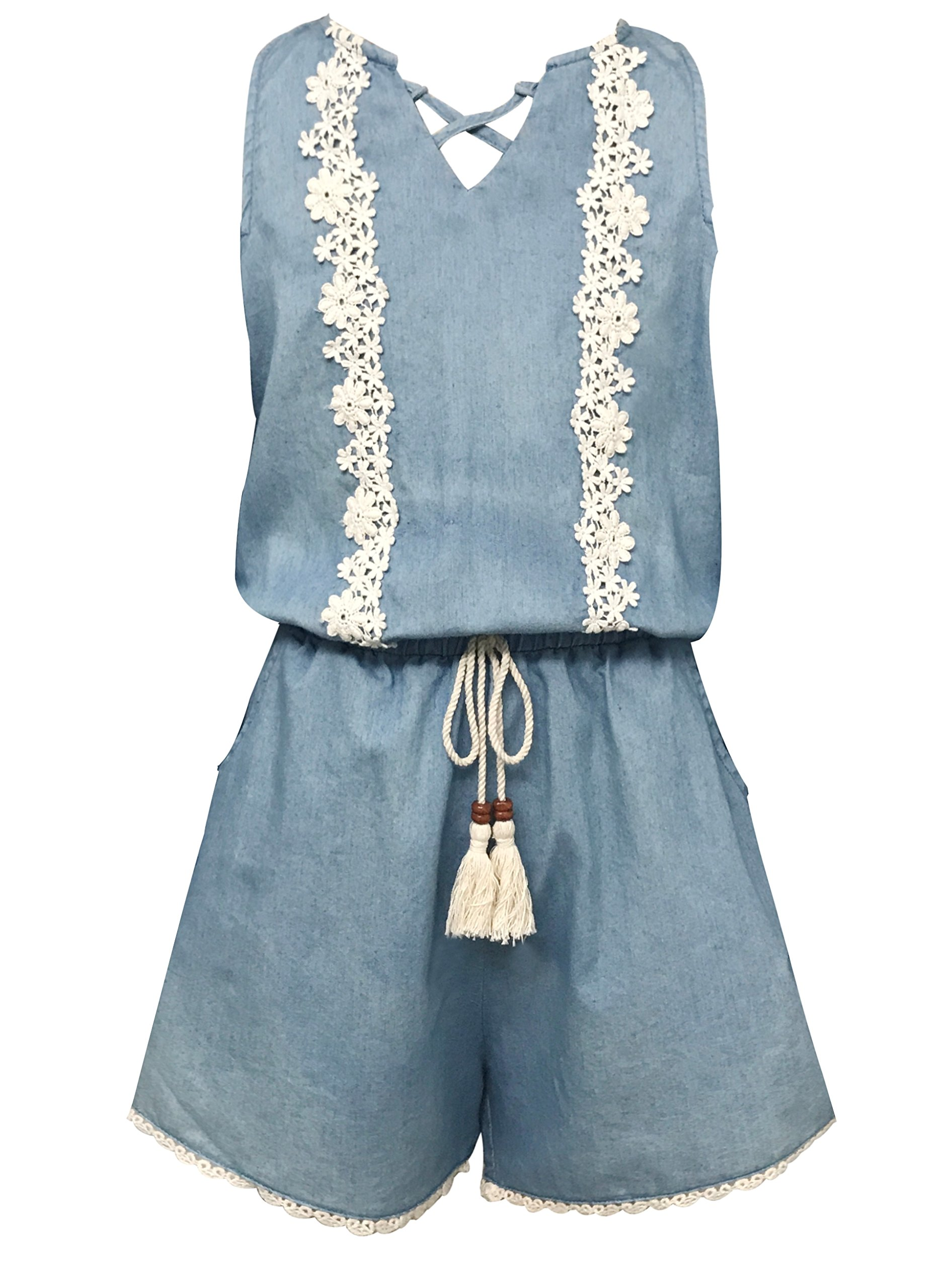 Smukke, Big Girls Vintage Lace Trimmed Denim Sleeveless Romper with Pockets, 7-16 (Denim, 10)