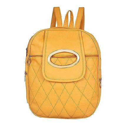 66e640b01180 Rajni Fashion PU Leather Backpack School Bag Student Backpack Tuition Bag  Women Travel Bag (8L) Yellow  Amazon.in  Bags